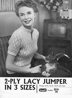 Lacy Short or Long Sleeved Jumper - - of Vintage Ladies Knitting Patterns Jumper Knitting Pattern, Jumper Patterns, Vintage Patterns, Knitting Patterns, Hand Knitting, Knitting Machine, Pdf Patterns, Knitting Ideas, Vintage Knitting