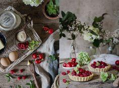 Tartaletas de cereza y frambuesas con crema de mascarpone