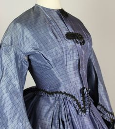Museum Deaccessioned Two Piece Periwinkle Blue Silk Wedding Gown C 1864   eBay
