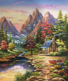 hand-made oil painting,decoration,mur. Scenary Paintings, Landscape Paintings, Cottage Art, Painted Cottage, Kinkade Paintings, Galaxy Painting, Mural Art, Pictures To Paint, Beautiful Paintings