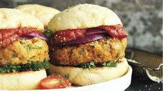 "Minimalist Baker's Pizza Burgers, with homemade vegan ""parm"""