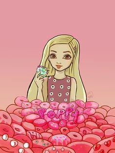 That Poppy internet girl stylized portrait featuring doughnut mountain. Digital piece by @yartzana  www.yartzanaserenade.com