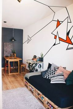 Tape art on the walls and ceiling Tape Art, Pallet Furniture, Furniture Design, Furniture Plans, Kids Furniture, System Furniture, Pallet Couch, Dark Furniture, Furniture Chairs
