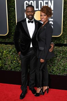 Sterling K. Brown and Ryan Michelle Bathe Annual Golden Globe Awards, Arrivals, Los Angeles, USA – 07 Jan 2018 Golden Globe Award, Golden Globes, Celebrity Red Carpet, Celebrity Style, America Ferrera, Marvel Actors, Hollywood Life, Fashion Pictures, All Black
