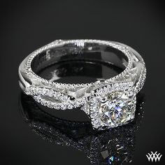 Verragio 4 Prong Cushion Halo Diamond Engagement Ring with 0.712ct A CUT ABOVE
