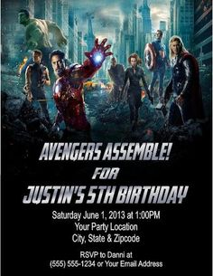 Avengers Birthday Party Invitations  by DannisCuteCreations