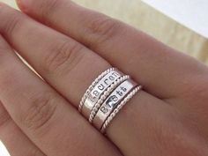 Mothers Day Gift Sale Personalized Sterling Silver Name   Etsy Name Rings, Spinner Rings, Mother Rings, Mom Jewelry, Personalized Rings, Boho Rings, Stackable Rings, Christmas Sale, Christmas Ideas