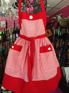 Childs Red Check  Apron  - size 5-6  (307) by MothersApronString on Etsy