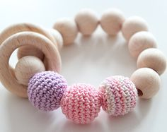 Natural Baby teething TOY / Beech wooden bead bracelet / Baby teething bracelet