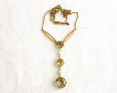 Antique Edwardian lavaliere necklace, 15 carat gold, 3 large faceted quartz stones, 2 small pearls, fine gold chain, hallmarked, circa 1900 by CardCurios on Etsy