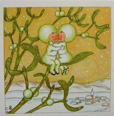 vintage ida bohatta mini gift card mistletoe kiss print winter snow holiday christmas xmas hugs love valentine snowbabies