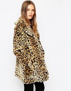 ASOS - Manteau fausse fourrure motif léopard
