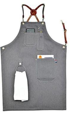 Image of Gray Denim Work Wear Apron with Leather Strap - TrendyGiftIdea Restaurant Aprons, Restaurant Uniforms, Cool Aprons, Aprons For Men, Cafe Uniform, Waitress Apron, Barber Apron, Sewing Aprons, Apron Designs