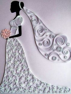 Quilled card for the bride