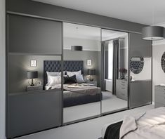 Mirrored sliding wardrobes are a great way to make a smaller footprint appear sp. - Mirrored sliding wardrobes are a great way to make a smaller footprint appear spacious and emphasise a room's natural light.