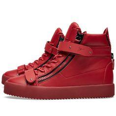 Giuseppe Zanotti Double Clasp High Sneaker (Matte Red)