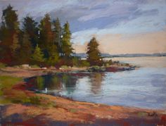 Large Landscape Fir Trees,Sea,Reflections Maine, Finland 18x24 Original Pastel Painting by KarenMargulisFineArt on Etsy https://www.etsy.com/listing/248752557/large-landscape-fir-treesseareflections