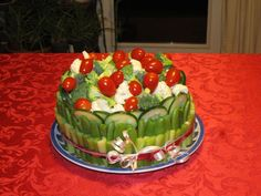 My version of a veggie cake! This is a great idea to bring to potlucks and parties