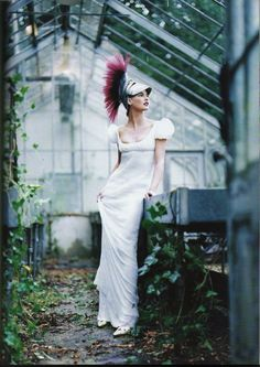 Linda Evangelita in John Galliano for Givenchy from Vogue. Never has hanging out in a greenhouse looked so fantastic.