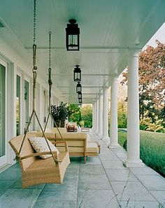 Willow Bee Inspired: Be Inspired No. 2 - Haint Blue Porch Ceiling We have to build a porch like this on the house House Of Turquoise, Haint Blue Porch Ceiling, Porch Ceiling Lights, Porch Lanterns, Ceiling Hanging, Ceiling Lighting, Ceiling Fans, Outdoor Spaces, Outdoor Living