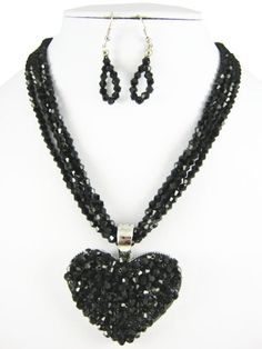 Black Delicate Heart beaded necklace by RainingRustic on Etsy, $20.00