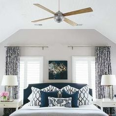 Headboard Between Windows, Transitional, Bedroom: … #TransitionalDecor