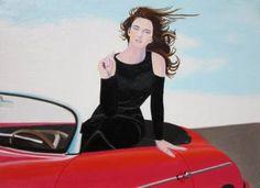 """Saatchi Art Artist Robert Lee; Painting, """"Re-Created Girl in Porsche 356 by Robert S. Lee"""" #art"""