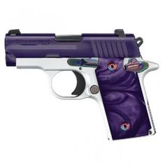 P238 Purple Chrome Features: •High polish purple PVD stainless steel slide •Alloy frame with Arctic Frost finish •Purple Pearlite® grips •Rainbow Ti controls �