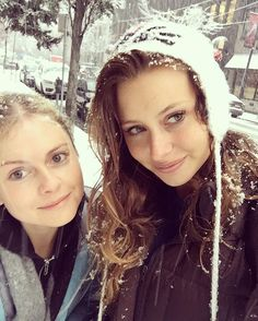 Two lil snow bunnies | Rose McIver and Aly Michalka