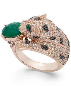 Signature by EFFY Emerald (1-1/2 ct. t.w.) and Diamond (1-3/8 ct. t.w.) Panther Ring in 14K Rose Gold