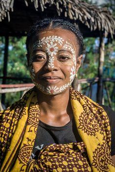 Sakalava Woman from Madagascar with face design.
