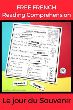 """FREE French Remembrance Day reading worksheet for a simple text about """"le jour du Souvenir"""". French Teaching Resources, Teaching French, School Resources, Teaching Spanish, Teaching Tools, Teaching Ideas, French Flashcards, French Worksheets, French Lessons"""