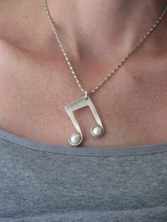 Eighth Note Necklace with Pearls  from  upcycled vintage fork www.laughingfrogstudio.etsy.com $24.00