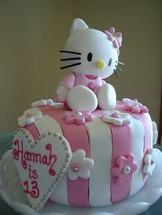 Hello Kitty cake- My mom makes cakes like this...message me if you need a sweet birthday cake for a great price!! =)