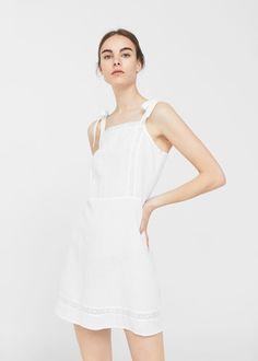 Vestido lino lazos - Vestidos de Mujer | MANGO España