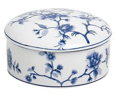 Portaoggetti in porcellana blu, d 18/h 10 cm