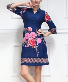 Another great find on #zulily! Blue Floral Button-Up Dress by Reborn Collection #zulilyfinds