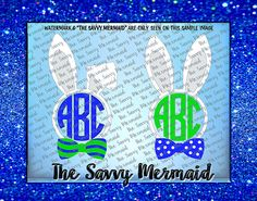 Awesome, Very cool, Easter Bunny themed, Monogram Frame! And of course he has a great bow tie!   Use with Silhouette or Cricut or as a Printable Iron On Design!  Svg Eps Dxf Png Jpg