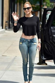 Classic black top/ blue jeans