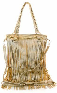 Diba Collections Fringe Chain Link Fashion Handbag (gold)
