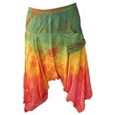 Peasant Boho Hippie Gypsy Drop Crotch Tie Dye Rayon Capris Pants - EK615