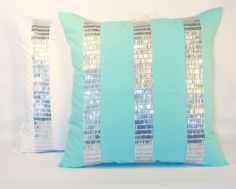 Teen, Dorm, Room Pillows in Turquoise. Great color and bling