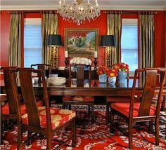 Traditional (Victorian, Colonial) Red Dining Room by Keita Turner @Keita Turner