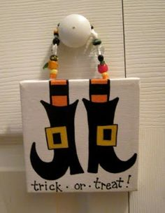Witch Boots Halloween Canvas Sign. $15.00, via Etsy.
