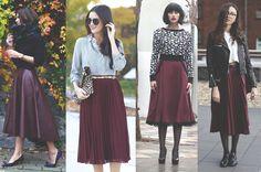 looks para se inspirar, inspiration , looks, outfits, style, street style, estilo, midi skirt, marsala, saia midi, fashion,moda.