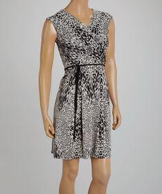 Another great find on #zulily! Gray & Black Leopard Surplice Dress by Sandra Darren #zulilyfinds