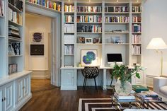 Library. Built in. Workplace. Gray