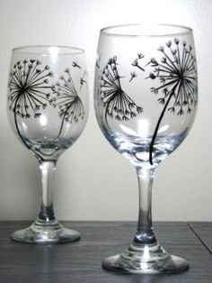 Painting Glassware | Hand Painted Wine Glass by AGirlCanDream. I had a friend that got a tattoo of a dandelion with the petals floating away across her shoulder. She would have loved this.
