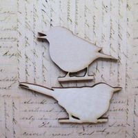 Wood Bit Shapettes Birds - 1 pair -