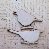 Wood Bit Shapettes Birds - 1 pair -